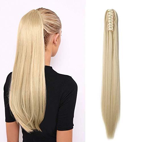 Ponytail Extension Pferdeschwanz Haarteil Haarverlängerung Zopf mit Butterfly-Klammer Hair Piece Haar Glatt Hitzebeständig wie Echthaar Gebleichtes Blond-1 Glatt-21