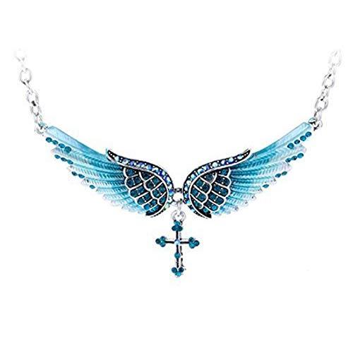 LGJJJ Engelsflügel Halskette Frauen Stilvolle Glänzende Doppelte Flügel Kreuz Baumeln Pullover Kette Charming Strass Halskette, Blau