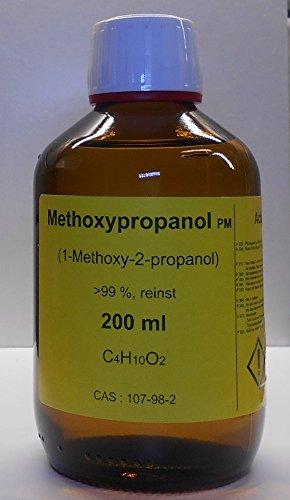 200 ml Methoxypropanol 99%, 1-Methoxy-2-propanol, Lösungsmittel für Druckfarben und wasserlösliche Kunstharze, Veredelungsmittel