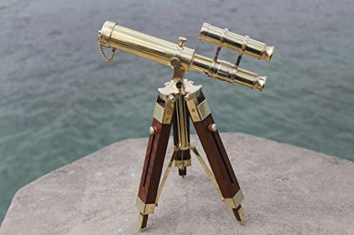 Telescopio Vintage de Peerless telescopio trípode, telescopio Vintage, telescopio, telescopio de Viaje, 10 Pulgadas, mira Marina Vintage, trípode de Madera, Soporte de Doble Barril de latón