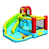 HONEY JOY Inflatable Water Slide, Kids Bounce House w/Long Slide & Large Splash Pool, Includes Carry Bag, Repairing Kit, Stakes, Water Cannon, Outdoor Water Play Center (Without Blower)