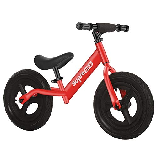 LXLA Red Balance Bike for 2 3 4 5 6 Year Old, Boy Girl Training Bicycle with 12 Inch Inflatable Rubber Tires, Load 50 Kg / 110 Lbs
