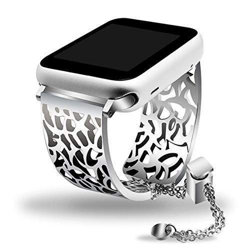 Brazalete de joyería con correa de reloj de acero inoxidable para iWatch Apple Watch 38mm 40mm 42mm 44mm Serie 1 2 3 4 5 Band Pulsera con correa para mujer