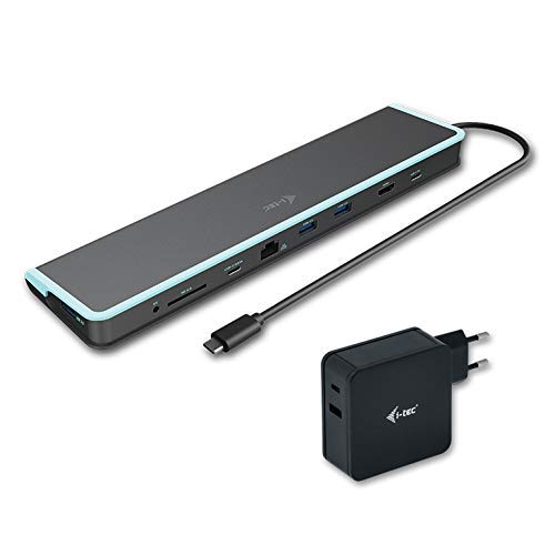 i-tec USB-C 4K Docking Station mit Universellen Ladeadapter 1x HDMI 1x SD Kartenlesegerät 1x Gigabit Ethernet 3X USB 3.0 1x USB-C 1x USB-C PD 60W Thunderbolt kompatibel 3 mit 30cm Kabel