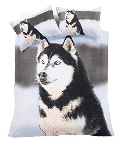 eirene threadz Animal Photo Print Duvet Cover with Pillowcase Bedding Set Polycotton (Husky, Single)