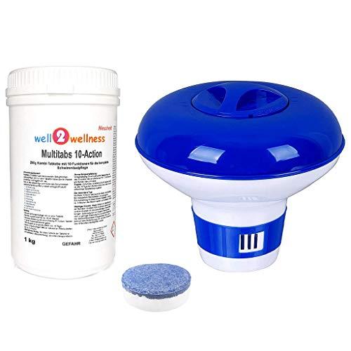 well2wellness Chlortabletten Multitabs 10-Action 200g mit 10 Funktionen 1,0 kg Plus Dosierer