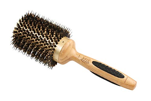 Extra large Professional Thermal Hot Curl Brush - Wild Boar / Nylon Light Wood H by Bass Brushes