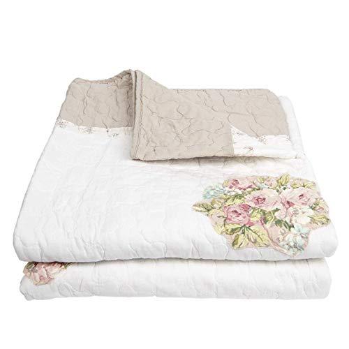 Clayre und Eef Q184.060 Bettüberwurf/Bett Decke Blumenmotiv Rosa/Natur/Weiss Vintage Landhausstil Ca. 180 x 260 cm