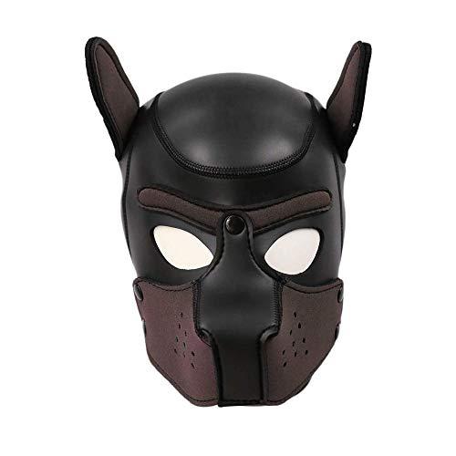 TIKENBST Puppy Hood Leder Hundekopf Masken Helm Abnehmbarer Mund Kostüm Party Requisiten Mit Neopren Puppy Hood Benutzerdefinierte Tierkopfmaske,C