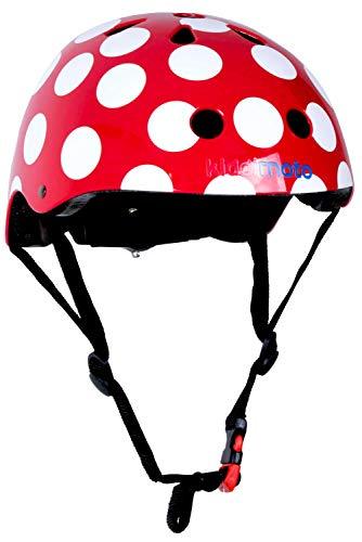 Kiddimoto fietshelm voor kinderen/fietshelm/design sport helm voor skates, scooter, loopfiets - Red Dotty/rode stippen