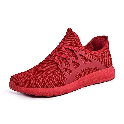 ZOCAVIA Herren Damen Sneaker Running Laufschuhe Sportschuhe rutschfeste Sneaker, Rot1, 39 EU