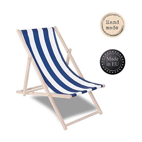 SPRINGOSⓇ Liegestuhl DIY Holz Sonnenliege Klappbar Relaxsessel Gartenliege Entspannung (Mit Blauen Streifen)