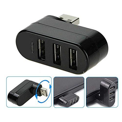 Ashey HUB USB de 3 Puertos, Divisor USB Mini 2.0 Giratorio, Adaptador para computadora portátil/Tableta, periféricos de PC, concentradores USB de Alta Velocidad