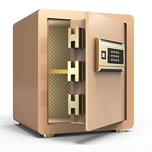 GGDJFN Caja de seguridad electrónica digital de acero sólido para llaves, caja fuerte para documentos de identificación, documentos A4, ordenadores portátiles, joyas 36 x 30 x 40 cm (color: dorado)