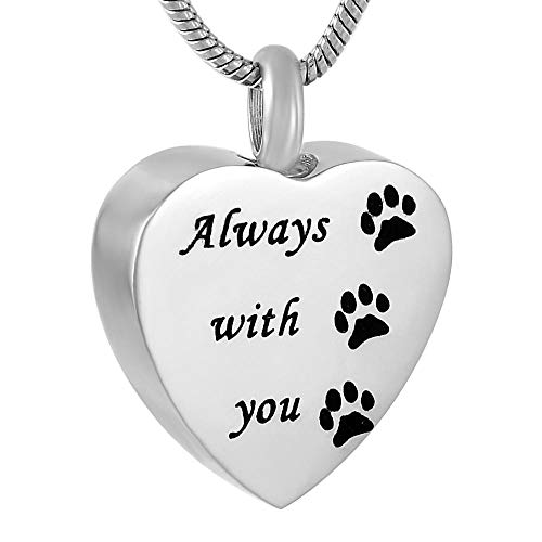 QQJJSUDIW Collares De Urna para Cenizaspaw Print Heart Stainless Steel Cremated Ashes Jewelry Commemorative Urn Necklace Pendant Carved by Your Side