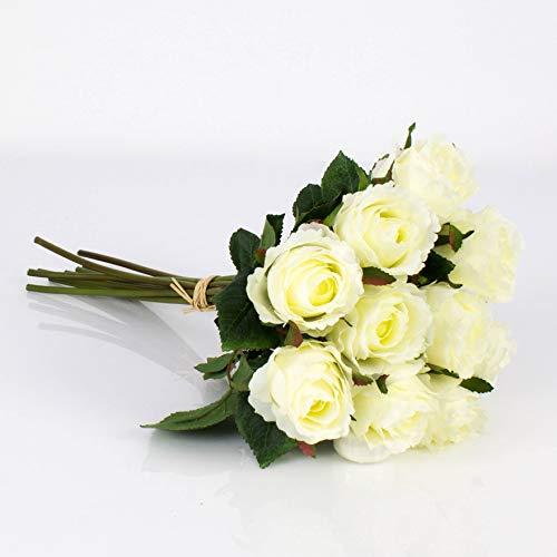 artplants.de Künstlicher Rosenstrauß Molly, 10 Rosen, weiß, 35cm, Ø 20cm - Künstliche Rose - Blumenstrauß künstlich