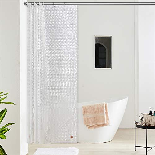 Furlinic Duschvorhang Anti-schimmel Wasserdicht Transparent Badvorhang aus Eva 120x180cm 3D Effekt Funkelnden mit 8 Duschvorhangringen Saum mit Steinen.