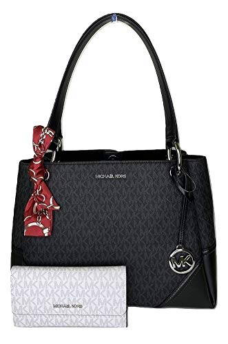Bundle of 3 items: MICHAEL Michael Kors Nicole Large Shoulder Tote bundled with Michael Kors Jet Set Travel Large Trifold Wallet and Couture du Jour Skinny Scarf Open top with magnetic closure, Dual leather handles, 3 separate compartments interior. ...