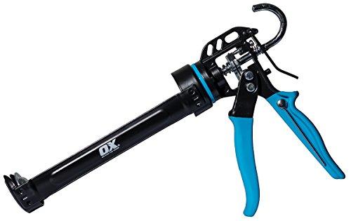 OX Tools Pro 10 oz Caulk Gun 12:1 Thrust Ratio, Release Mechanism to Reduce Flow, Built in Poker, Rubber Handle