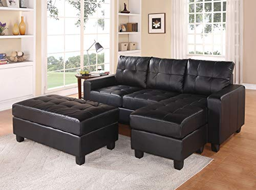 HomeRoots Sectional Sofa (Reversible Chaise) with Ottoman, Black Bonded Leather Match - Bonded Leather Match Black BLM