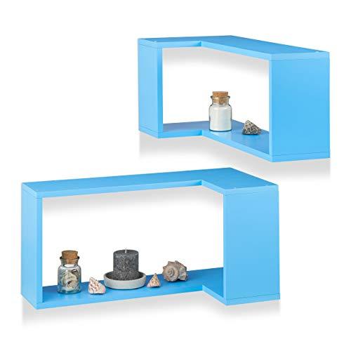 Relaxdays Hoek-wandrek, 2-delige set, vrij zwevend, decoratief, om op te hangen, kinderkamer, modern design, MDF, blauw