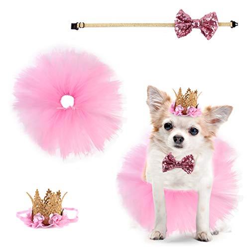 Camidy Traje de Perro de 3 Piezas para Fiesta de Cumpleaños Falda de Tutú Rosa para Mascotas Sombrero de Corona Lentejuelas Pajarita con Correa Ajustable para El Cuello para El Traje de Cumple