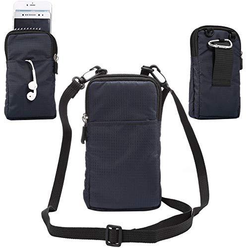 jbTec Handytasche zum Umhängen Nylon klein 180x110x35mm - Gürteltasche Handy Umhängetasche Gürtel Tasche Hüfttasche Case, Farbe:Navy-Blau