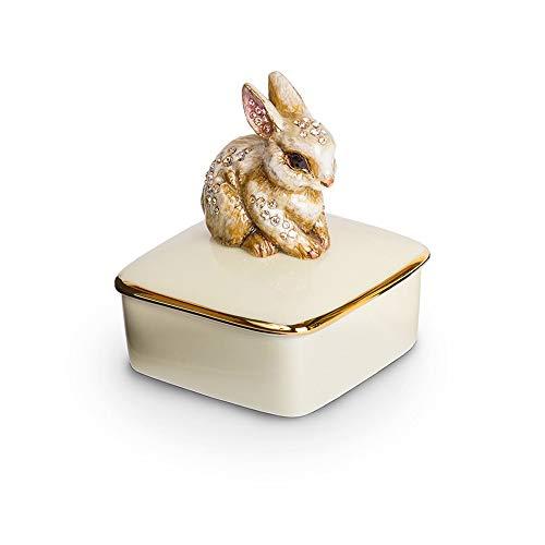 Jay Strongwater Natural Bunny LIA Porcelain Trinket Box Swarovski New Box