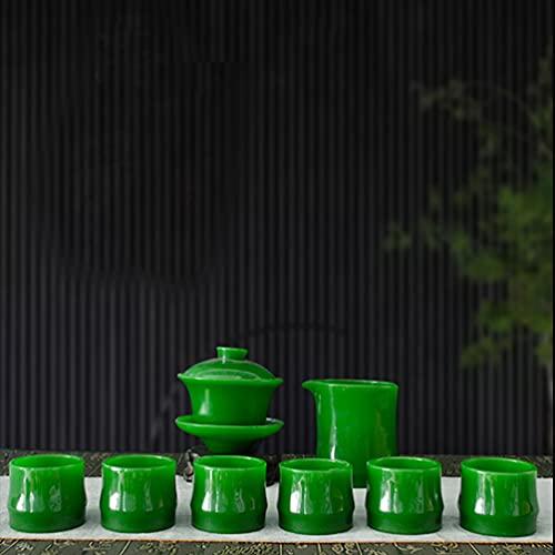 Juego de 10 piezas de colores brillantes a prueba de calor vidrio té y café juegos de regalo – 1 tazón de tapa + 1 taza masculina+6 tazas+1 drenaje de té + 1 base de drenaje de té (verde emperador)
