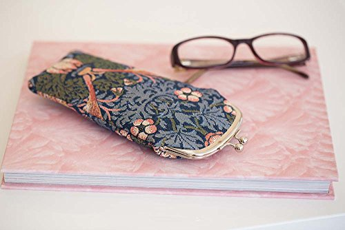 Signare Tapestry Glasses Case for Women Eyeglass Case with Vintage Designs (Strawberry Thief Blue, GPCH-STBL)