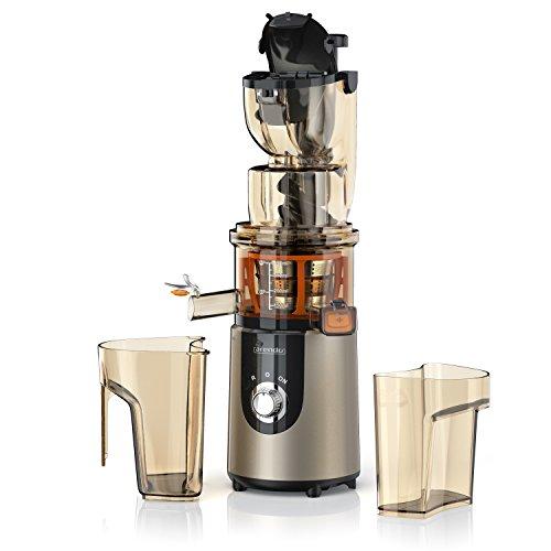 arendo - Licuadora para Fruta y verdura Slow Juicer - Capacidad Total 1L - Producción rápida de Zumo de Alto Rendimiento - Apta para lavavajillas - Bloque de Seguridad Integrado