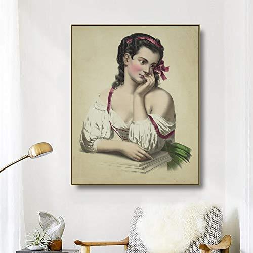 BailongXiao Lienzo Pintura al óleo Hermosa Chica Arte de la Pared Carteles e Impresiones, Sala de Estar Dormitorio decoración del hogar,Pintura sin Marco,70x90cm