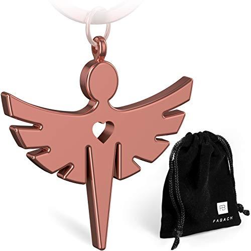FABACH 2 Schutzengel Fabiel Schlüsselanhänger mit Herz - Edler Engel Anhänger aus Metall in glänzendem Rosegold - Glücksbringer Geschenk für Auto, Führerschein - Fahr vorsichtig