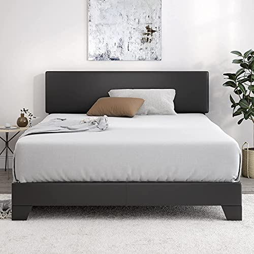 SHA CERLIN King Size Bed Fame with Adjustable Leather Headboard, Upholstered Platform Bed with Wood...