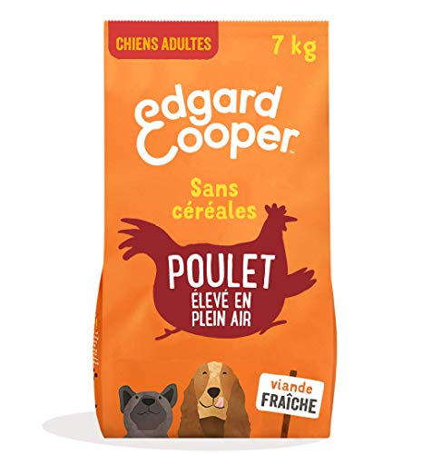 Edgard & Cooper Croquettes Chien Adulte sans Cereales Nourriture Naturelle 7kg Poulet Frais élevé en Plein air, Alimentation Saine savoureuse et équilibrée, Protéines de qualité supérieure