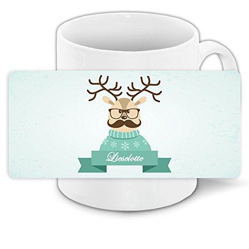 Weihnachtstasse mit Namen Lieselotte und lustigem Motiv mit Rentier im Pullover mit Schnurrbart - Tasse zu Weihnachten