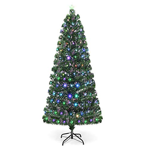 Goplus 5ft Pre-Lit Artificial Christmas Tree, Optical Fiber, 8 Flash Modes, with 175 Multicolored LED Lights & Metal Stand (5 FT)