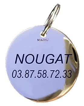 MACHU - Médaille Mini 1,8 cm pour Chat Personnalisable - Laiton chromé - Gravure Profonde et soignée Incluse dans Le Prix.
