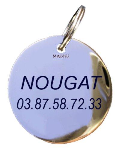 Machu - Médaille Mini 1,8 cm pour CHIEN MINI OU CHAT - laiton chromé - Gravure profonde et soignée incluse dans le prix.