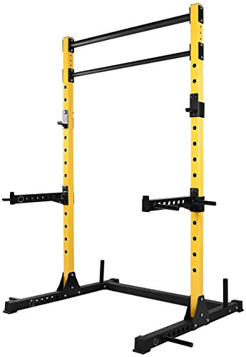 HulkFit Multi-Function Adjustable Power Rack Exercise Squat Stand with J-Hooks