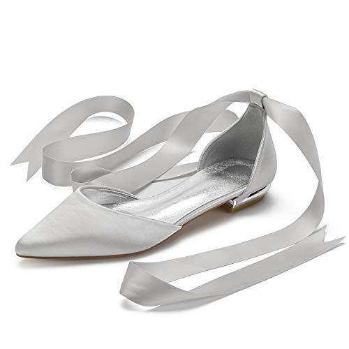 Charmstep Zapatos Planos De Boda para Mujer Bailarinas Punta Estrecha Lazo De Cinta Zapatos De Novia De Fiesta,Plata,38 EU