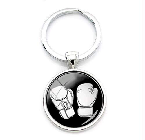 VAWAA Sport Schmuck Boxen Schlüsselanhänger Schwarz Weiß Minimalistischen Boxen Handschuh Muster Glaslegierung Schlüsselanhänger