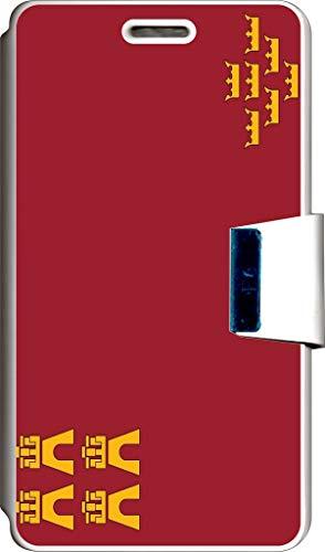 SUPER STICKER Funda Libro para Samsung Galaxy Young 2 Cover Flip Blanco, con Dibujo, Bandera Murcia