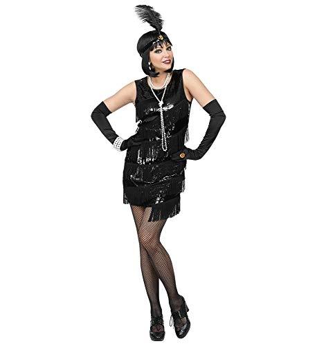 shoperama 20er Jahre Charleston Flapper Damen-Kostüm Pailletten Fransen-Kleid Schwarz kurz 20's Gatsby Girl, Größe:S
