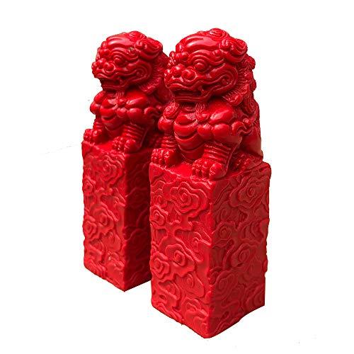 Un par de estatuas de Fu Foo Dogs de los Leones Rojos de Beijing, Cinnabar Guardian, decoración de Feng Shui Chino, para el hogar y la Oficina, atraer Riqueza y Buena Suerte, Large