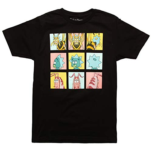 Ripple Junction Rick and Morty Various Forms Grid Graphic Men's T-Shirt - Black (X-Large)