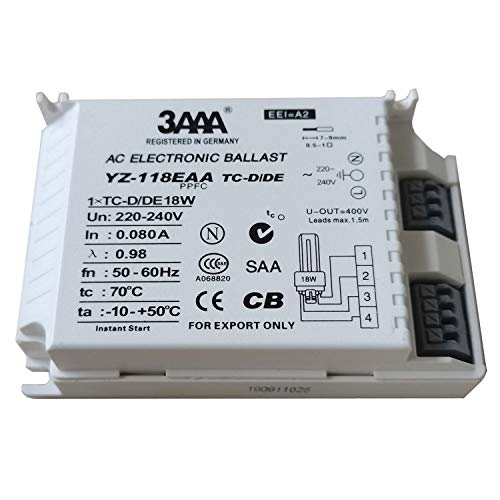 Balastro electrónico de 220 – 240 V 3AAA YZ-118EAA con encendido instantáneo, balastro electrónico para lámparas 1XTC-D/DE 18 W CCC CB SAA