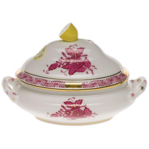 Herend Chinese Bouquet Raspberry Porcelain Mini Tureen With Lemon