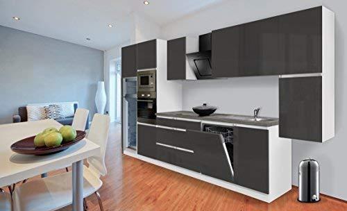 respekta Premium grifflose Küchenzeile Küche Küchenblock 395 cm Weiss grau Hochglanz inkl. Softclose, Induktionskochfeld & Kühl-Gefrierkombination 144 cm