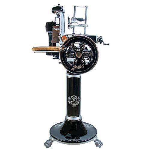 sensationelle Berkel Volano B3 | Aufschnittmaschine/Allesschneider mit blütenverziertem Schwungrad | + Berkel Stand-Fuß + handgefertigtes Schneidebrett aus Fassholz | VK: 7548,- €